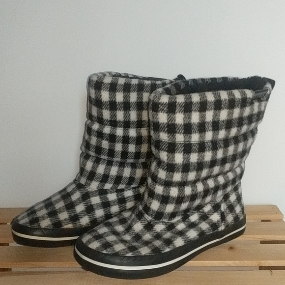 Roxy Black and White Hounds tooth Boots